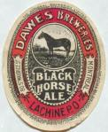 Dawes Black Horse Ale label circa 1888-1926.