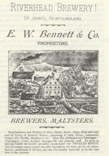 Bennett Brewing advert from the Encyclopedia of Newfoundland