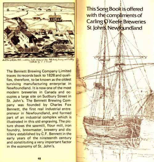 Last pages and Bennett History in Newfoundland Songs (10th Edition)