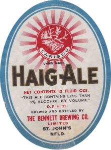 An older (pre-1962) label for Bennett Haig Ale. At the time of the songbooks, it would have been switched to the iconic blue label.